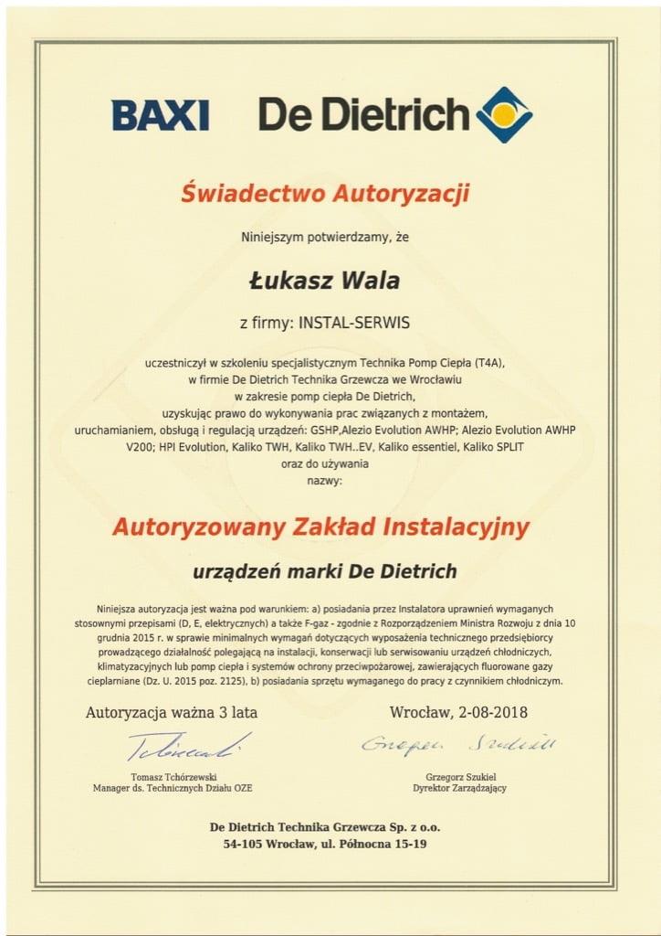 Certyfikat BAXI De Dietrich