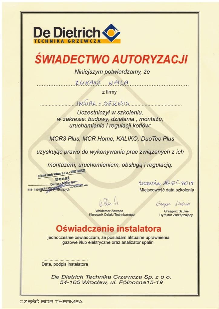 Certyfikat De Dietrich