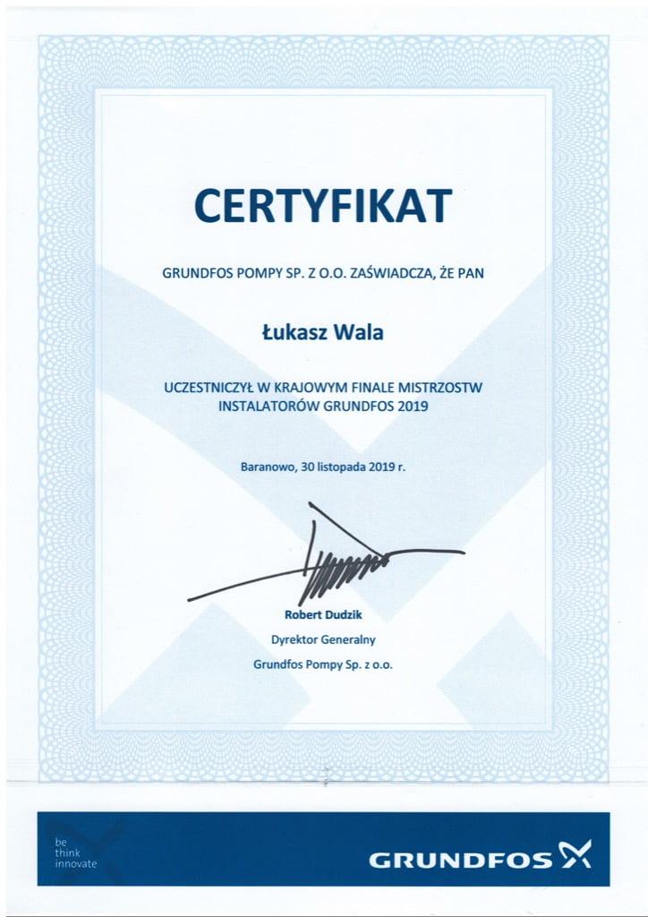 Certyfikat Grundfos Pompy